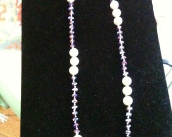 Pearl and Austrian Crystal flapper style long necklace 48 inches