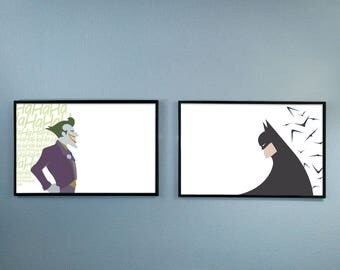 Pair of Batman and The Joker Posters Inspired by the 1990's Batman the Animated Series - BTAS