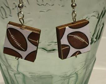 Football Scrabble Tile Earrings