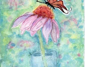 Cone Flower with Butterfly Watercolor Print