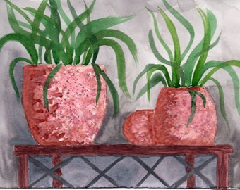 Blush and Grey Textured Pots Watercolor Print