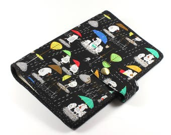 A5 Planner Binder Handmade Cotton Black Binder Notebook/Binder/Book Cover  P1637