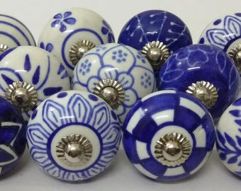 Blue and White Ceramic Knobs Handpainted Kitchen Cabinet Knobs Hardware Cabinet Knobs Drawer Knobs Ceramic Door knobs