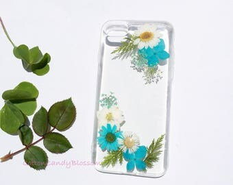 Blue Blossoms, Pressed flower iPhone 7/7 Plus, Real Flower iPhone 6s case, Handmade iPhone case, Clear iPhone case