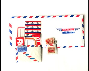 Mailing Lot - Air Mail - Vintage Paper Ephemera - Airmail / Red White & Blue / Labels Stamps Shipping Paper Pack