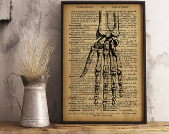 Hand Anatomy Print Orthopedic surgeon gift Medical Poster, Dictionary art print, Gift for a medical student or for , Anatomy Print (HA03)
