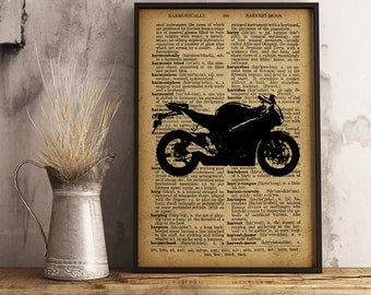 Motorcycle Art Poster, Vintage Motorcycle Decor Cave Decor Office Decor, Garage Decor, Gift for him, Motorcycle Dictionary print (M09)