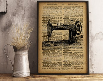 Sewing Machine Print Craft Room Decor, Antique Sewing Machine poster, Dictionary art Print Old Sewing Machine Decor Retro Sewing Machine V21