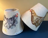 Voyage water colour chicken Scottish woven linen handmade lampshades in a variety of shapes and sizes