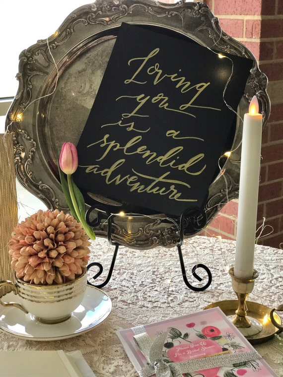"Custom Calligraphy ""Loving You Is A Splendid Adventure"""" White Ink Heavyweight Chalkboard Paper Art Print / 8x10 / Frameable"