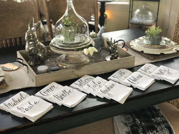 CUSTOM CALLIGRAPHY Napkins - Wording of Your Choice - 16x16 Napkins / Featured in Summer 2016 Weddings With Style Mag.