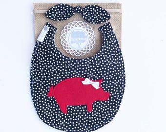 Razorback Pig Appliqué Bib, pig bib, baby bib, toddler bib, teething bib, drool bib