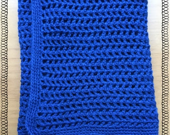 Handmade royal blue crochet throw/blanket