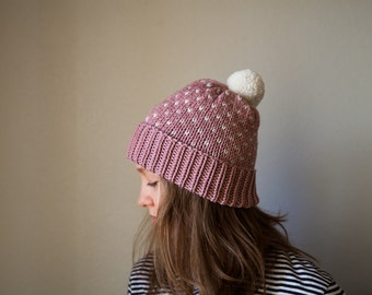 Knit Fair Isle Hat Pink