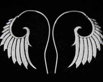 Silver plated tribal wings earrings.Ethnic tribal wings earrings.Unique tribal design wings earrings.New style wings earrings.