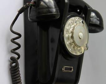 Soviet wall phone 1965. Soviet telephone. Vintage phone. Vintage telephone. Rotary Dial Phone. Black rotary phone