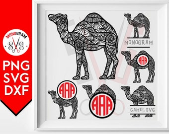 Camel Zentangle Svg Monogram Silhouette cut files for cricut silhouette studio cutting file vector designs vinyl cutter Dxf Png Clip art