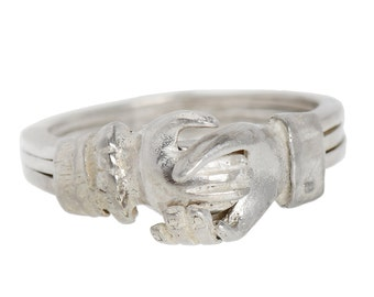 Fede Gimmel Clasped Hands Ring Silver |  Estate Inspired Wedding Engagement Ring | Gimmel Ring Hands Holding Heart  Marriage || 17949