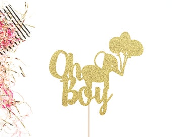Oh Boy Cake Topper | Baby Shower Cake Topper | It's A Boy Cake Topper | Boy Oh Boy | Elephant Cake Topper | Gold Glitter Oh Boy Cake Topper