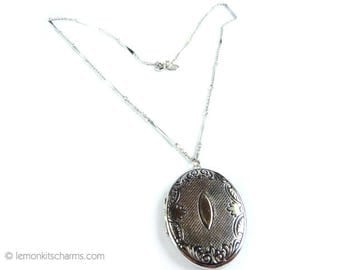 Vintage Locket Necklace, Jewelry 1970s 1980s, Avon, Victorian Style, Silver Silvertone Pendant, Photo