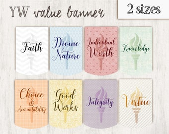 Young Women Value Banner Printable Set, LDS Young Women, Faith Divine Nature Individual Worth Knowledge Virtue, YW values, YW Decoration