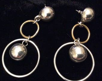 Huge Vintage Mexican 925 Sterling and Brass Statement Earrings