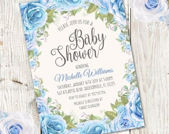 Whimsical Boy Baby Shower Invitation, Boy baby shower invite, baby shower, floral baby shower, watercolor baby shower invitation