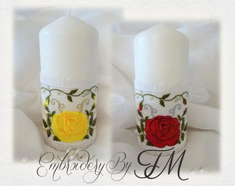 Candle corsets with big rose / 5x7 hoop