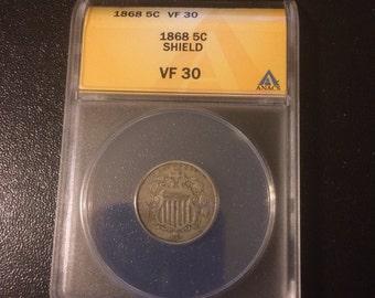 Rare 1868 Shield Nickel - Authenticated - Graded VF 30