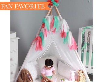 Lace Teepee - kids teepee - teepee tent - tipi tent - play teepee - play fort - play - indoor teepee - Teepee - boho tent - boho teepee - TP