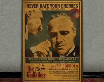 The godfather, Vito Corleone, Marlon Brando, Colored retro classic movie poster