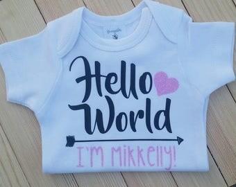 Hello World I'm, Cute Newborn Onesie, Baby Announcement, Newborn Baby Announcement, Baby Shower Gift, Baby Gift, Hello World Onesie