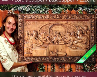 """44"""" Lord's Supper / Last Supper 112cm Wood carving 3D painting icon orthodox art"""
