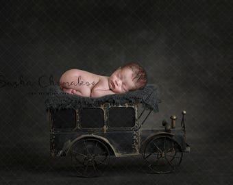 digital backdrop , background  newborn  boy or girl vintage dark gray track car