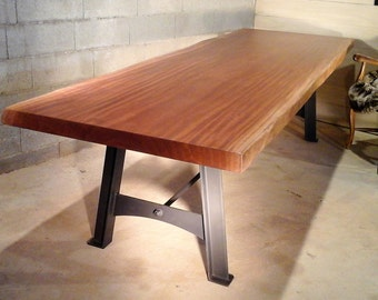 Table metal base steel wood