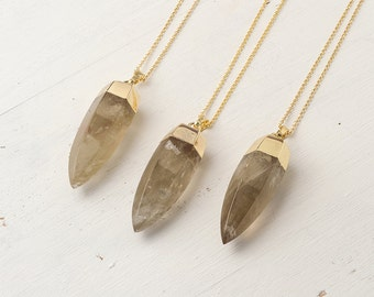 Smoky Quartz Necklace Crystal Point Citrine Quartz Dagger Necklace Raw Stone Necklace Spike Pendant Quartz Crystal Layered Necklace