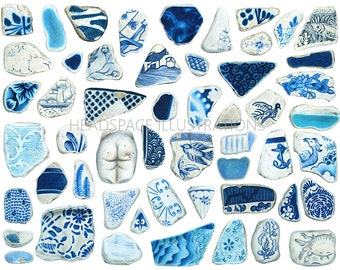 Sea Pottery Colored Pencil Art Print by Headspace Illustrations