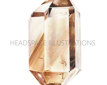 Smokey Natural Citrine Crystal - Colored Pencil Art Print by Headspace Illustrations