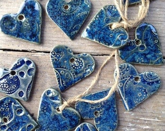 Handmade Ceramic hanging blue hearts ornaments. With boho paisley imprint for birthday, gifts, tags, wedding, Christmas decorations