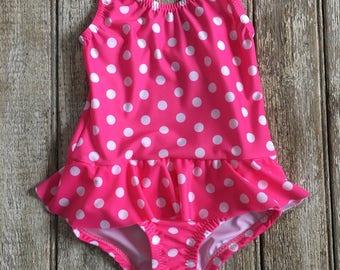 Girls one piece swim suit, pink polkadot swimsuit, girls swimsuit,