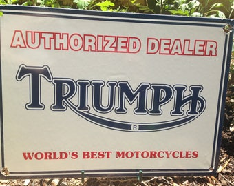 Triumph Motorcycle Dealer Porcelain Sign- Vintage