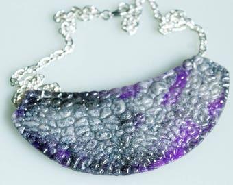 Statement necklace, resin, violet and black