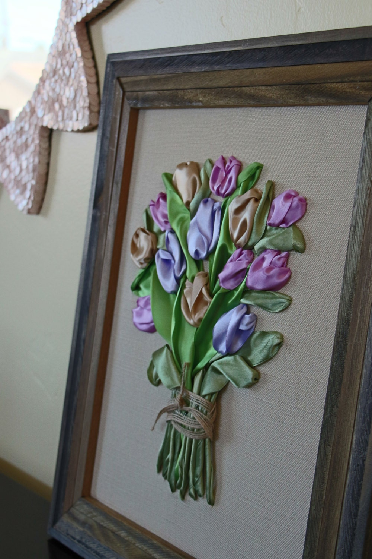 Tulips ribbon embroidery framed d wall art home decor farm