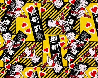 """Classic Cartoon Fabric - Camelot Betty Boop - Betty Boop Film Strip Yellow 100% cotton 44"""" Fabric by the yard, N121"""