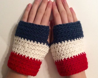 French Flag Fingerless Gloves