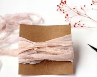 Blush Recycled Chiffon Silk, Hand Dyed Silk Ribbon, Sari Silk Ribbon, Hand Dyed Ribbon, Wedding Stationery, Bridal Bouquet, Wedding Decor