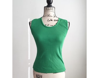 Vintage 70s Sleeveless Top, Vintage Green Tank Top, Green Sleeveless Top, 70s Green Polyester Top, Vintage Green Vest, Vintage Summer Shirt