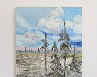 Vintage Pastel Forest and Sky Oil Painting on Canvas // Blues, Pink, and Light Green Cloud and Tree Landscape Art