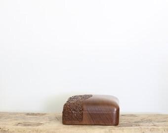 Vintage Hand Carved Wooden Box // Decorative Wood Trinket Box with Brass Brackets