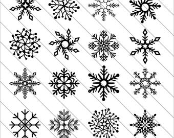 Snowflakes Silhouettes SVG,snowflakes clipart, Snowflakes svg Cut File,DXF,PNG Use with Silhoutte Studio & Cricut Instant Download